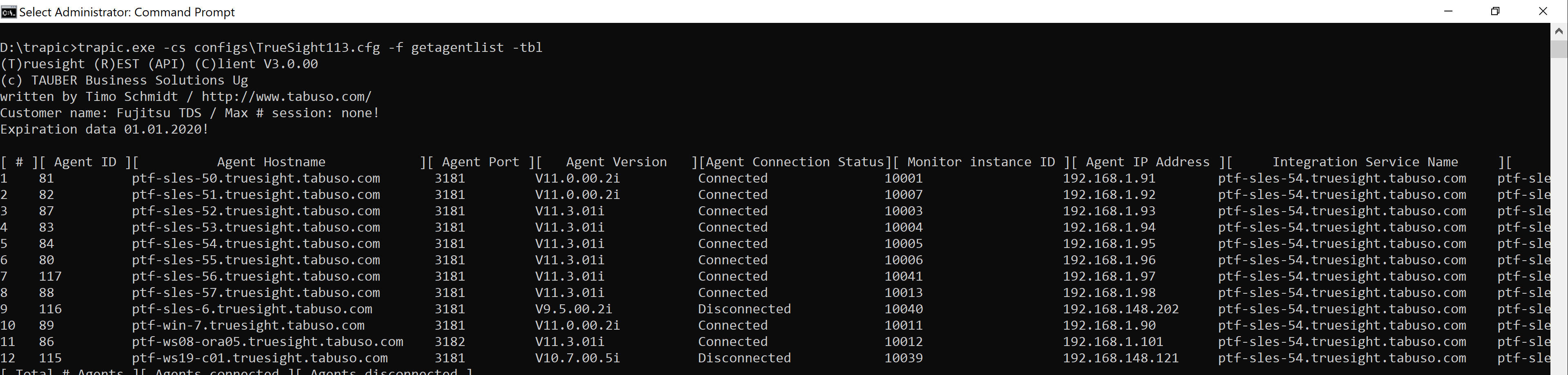 trapic agentlist command result in table format (command: getagentlist)