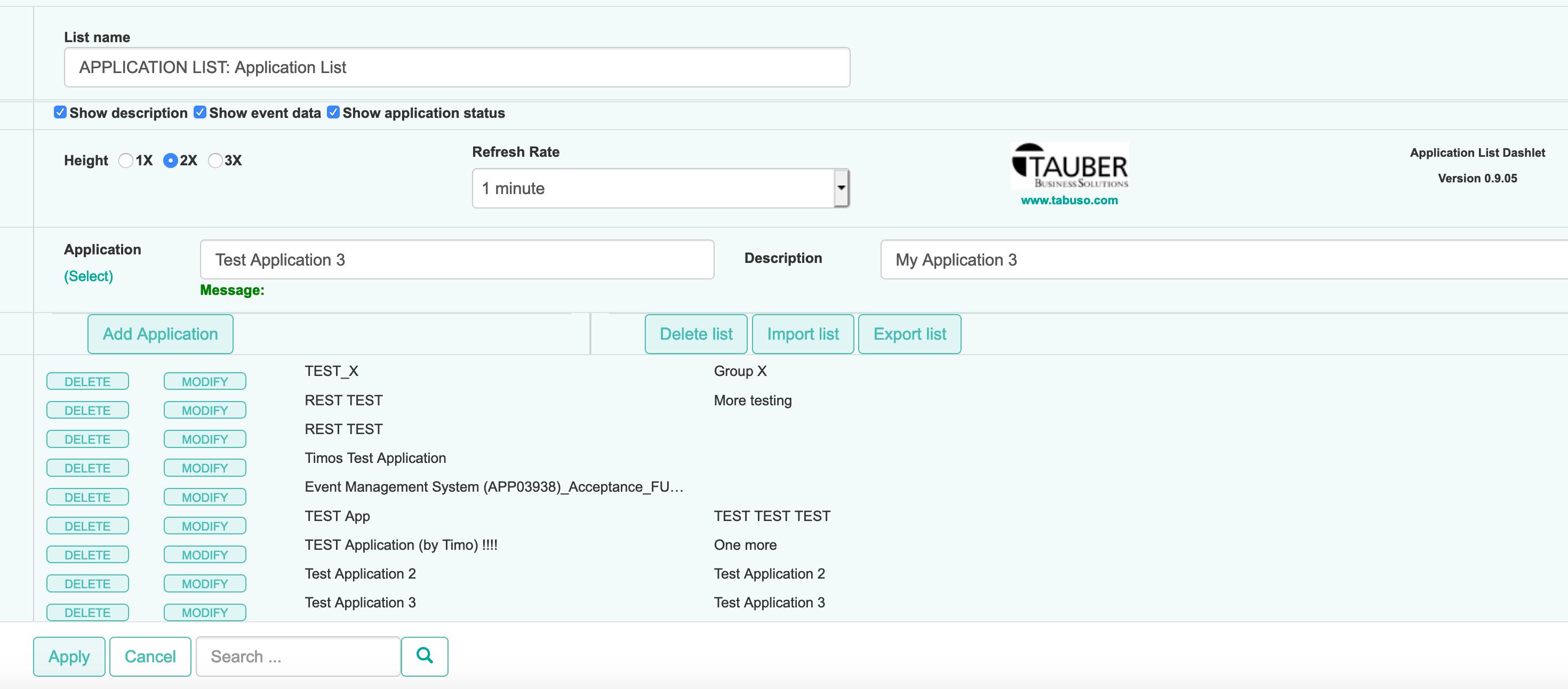 Application Dashlet Configuration View