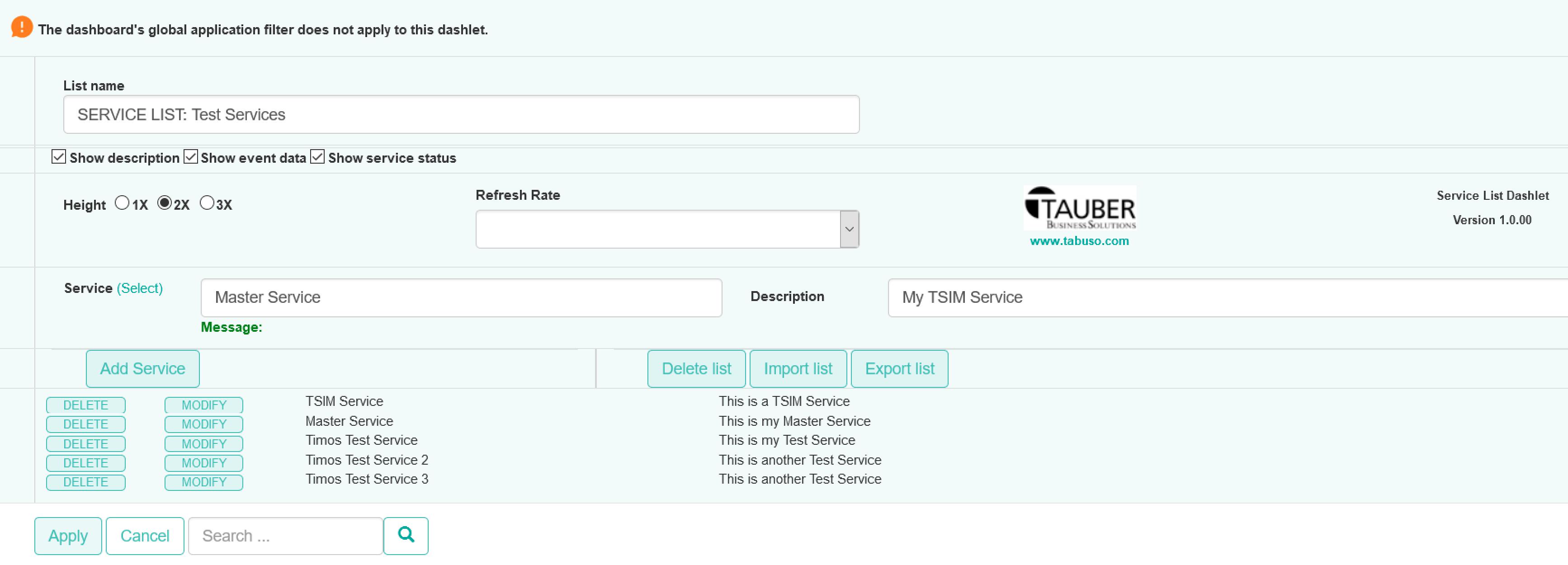 Service List Dashlet Configuration View
