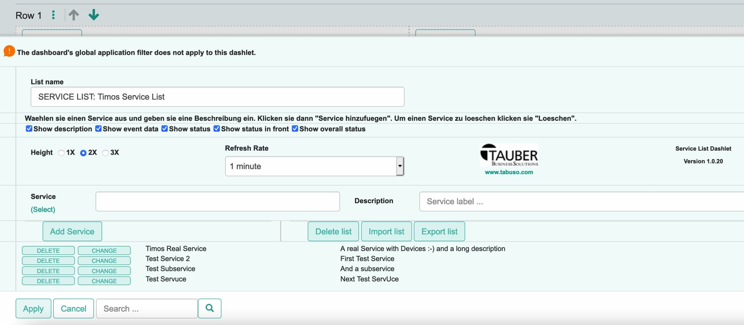 TAUBER Service List Dashlet / Configuration View